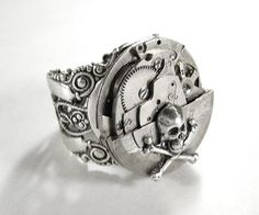 Steampunk Ring by edmdesigns - Vintage Silver Jeweled Watch Swivel Ring - SKULL and BONES -- ORIGINAL Creation by edmdesigns. $555nok (221)