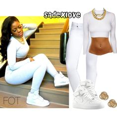 """All White (:"" by sadexlove on Polyvore"