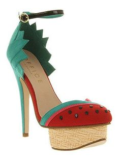 Office 'Ooh La La' green watermelon platform heels. Top 10 Cute and Quirky Shoes