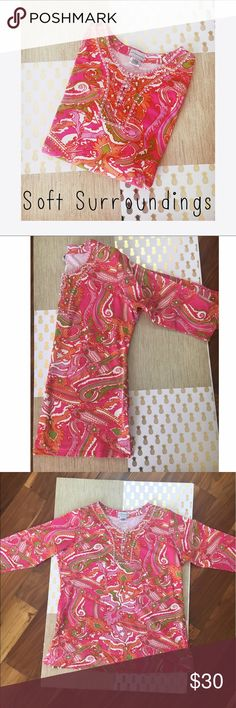 Soft Surroundings Paisley Jeweled Log Sleeve Tunic Gorgeous and comfortable long sleeved tunic in a vibrant pink, green, yellow, and orange paisley print. Features extensive beadwork around the neckline (front and back) with faux white pearls and pink and white crystals. Also includes 3 pearl buttons with elastic hooks for closure. Women's XL, 95% Cotton, 5% Spandex Soft Surroundings Tops