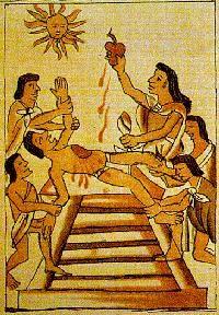 Azteken offerde mensenharten aan hun goden
