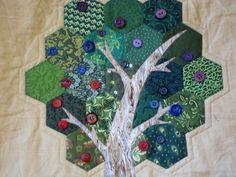 MODERN WALL HANGING Hexagon Applique Tree Quilt. $65.00, via Etsy.