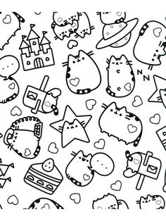 Kawaii Coloring Pages Printable. Here you could find collection of kawaii coloring pages. These cute images will be fun to draw and color. Tumblr Coloring Pages, Pusheen Coloring Pages, Cat Coloring Page, Cartoon Coloring Pages, Coloring Book Pages, Coloring Pages For Kids, Kids Coloring, Chat Pusheen, Pusheen Cute