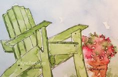 Green Adirondack Chair Watercolor Painting Print by RoseAnnHayes