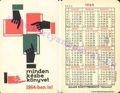 1964 - 1964_0163 - Régi magyar kártyanaptárak Pocket Calendar, Cards, Pockets, Pocket Diary, Maps, Playing Cards