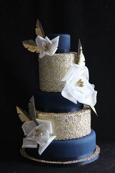 blue gold wedding on Pinterest | Gold Wedding Cakes, Navy Blue ...