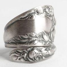 Victorian Rose anillo anillo de la cuchara de plata por Spoonier
