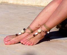 Earth tones beads Barefoot sandals. wedding sandals. hippie barefoot sandals , barefoot sandles, crochet barefoot sandals, , yoga, anklet. $20.00, via Etsy.