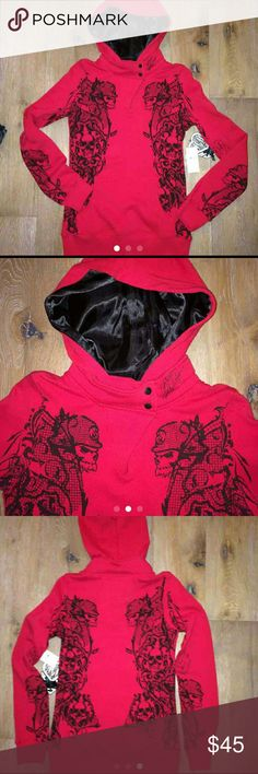 Metal Mulisha red hoodie sm nwot Silk hoodie lining, tattooed design down both sides  Bought it new and cut off the tags...didnt fit sooo bummed This hoodie is one of a kind?? Metal Mulisha  Tops Sweatshirts & Hoodies