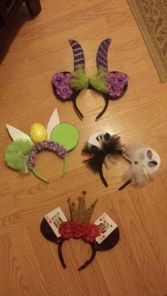 Tinker Bell, Maleficent, Jack Skellington, Queen of Hearts - Disney DYI Ears