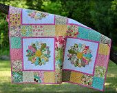 Modern Quilt Patchwork Bright cotton Dresden Plate- love this idea for sashing!
