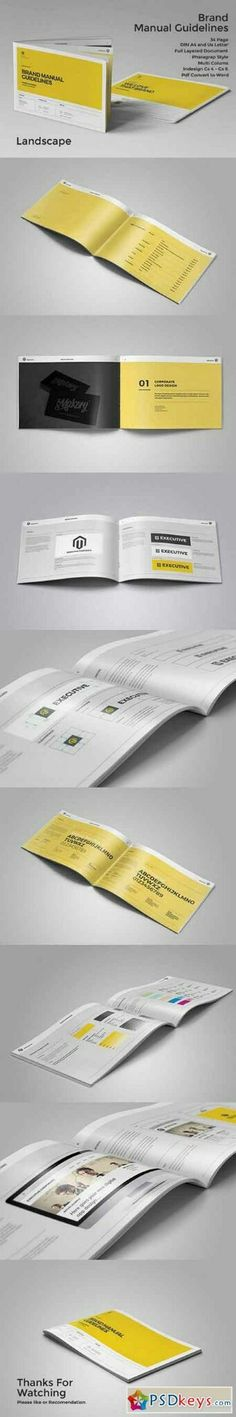 Brand Manual Landscape Template InDesign INDD Download here   - business manual template