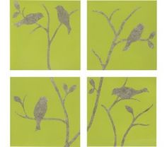 bird art--- gray with yellow!! or..... Chocolate background with green birds!!