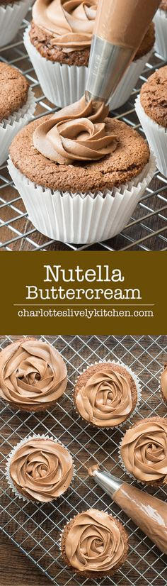 Smooth Nutella buttercream is so easy to make and is the perfect topping for cupcakes, birthday cakes, layer cakes, or anywhere else you might need a little but (Baking Desserts Cupcakes) Just Desserts, Delicious Desserts, Dessert Recipes, Cupcake Recipes Easy, Mini Desserts, Cheesecake Recipes, Buttercream Recipe, Frosting Recipes, Buttercream Cupcakes