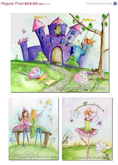 VACATION SALE Nursery Fairy Princess Art Print Set 16x20 by bealoo, $41.60