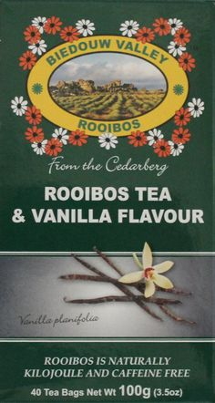 Rooibos & Vanilla Flavor: 40 Bag Count 3.5oz. 100% Natural Original S. African Healthy Herbal Tea. Caffeine and Calorie Free, Antioxidant & Mineral Rich. Grown At High Altitude in Natural Habitat.