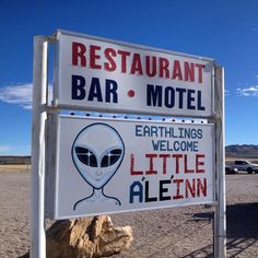 AREA 51 is the source of many conspiracy theories and UFO sightings over the last 50 years. If you are willing to drive deep into the Nevada desert you can get as close as Rachel, NV - the only town (if you can call it that!) near the entrance of area 51.   The Little A'le'Inn is a bar, cafe, gift shop and motel that caters to UFO chasers and visitors who have come to get a closer look at the legend of Area 51.   #area51 #alien #aliens #UFO #nevada #extraterrestrail #roadtrip #travel #weird