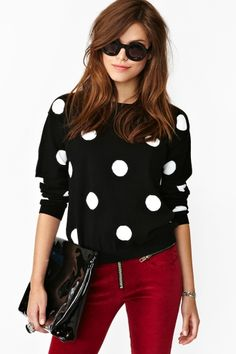 This will work with sheer polka dot blouse and turtleneck underneath.