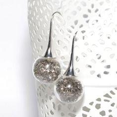 Boucles d'oreilles globes en verre remplies de perles strass grises