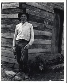 Tom Cupp at his cabin, now known as Martins Fork cabin, in the Cumberland Gap National Historic Park.