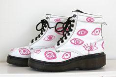 white leather pink eyeball vintage Doc Martin by napkinitems, $190.00