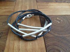 Wickelarmband Reptilleder blau Stäbchen von moanda auf DaWanda.com