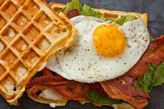 Savory Cheddar Waffle B.L.T. with Egg and other outside-the-box breakfast sandwiches from Chow.