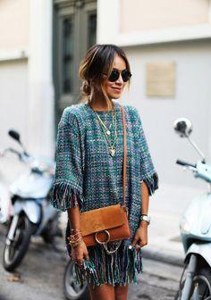STORETS 'Olivia' tweed dress CHLOE 'Faye' bag ISABEL MARANT sandals ILLESTEVA Milan sunnies LIONETTE NY 'Giza' long necklace
