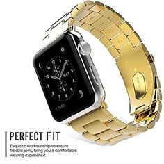 Metal Band for Apple Watch Series 1/2 Gold 38 mm Stainless Steel 3 links Strap #Noubco
