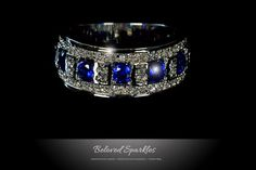 GINA SAPPHIRE BLUE ENCRUSTED COCKTAIL RING   3 Carat   Cubic Zirconia