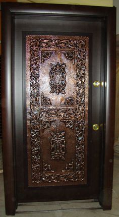 SAFETY AND ARMORED DOOR WITH COPPER Sca Armor, Gold Aesthetic, Security Door, Lebanon, Safety, Copper, Home Decor, Steel, Woodwind Instrument
