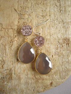 Rose Gold Druzy Earrings Gray Chalcedony Drusy by julianneblumlo, $148.00
