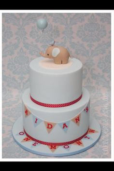 Simple baby animal on a fondant round with bunting ♥