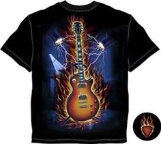 Excaliber Flaming Guitar With Lights and Flames Adult T-Shirt
