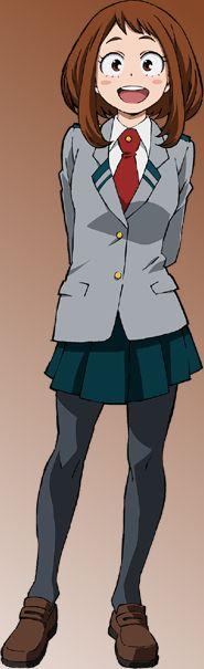 Ochako uraraka (my hero academia) Boku No Hero Academia, My Hero Academia Uniform, My Hero Academia Manga, Hero Academia Characters, Anime Characters, Boku No Hero Uraraka, Ua Uniforms, Uraraka Cosplay, Tv Tropes