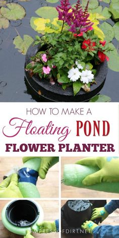 How to Make a Floating Pond Planter Homemade floating pond planters or mini islands are a lovely way to add pops of colourful flowers to your garden pond. You can also use them to sail garden art or candles. They are very pretty on a summer evening. Patio Pond, Diy Pond, Pond Landscaping, Ponds Backyard, Outdoor Ponds, Garden Ponds, Floating Pond Plants, Floating Garden, Floating Flowers