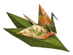 Spring Meadow Origami Crane on Leaves Brooch by MagyanClayandPaper