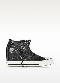 195a8139b441 All Star Mid Lux Black Sequins and Canvas Wedge Sneaker - Converse Limited  Edition Converse Wedges