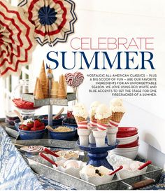 Create-Your-Own Ice Cream Cone & Sundae Bar :: Pottery Barn Love the two-tiered tray for serving cones and toppings! #chillingrillin #summer