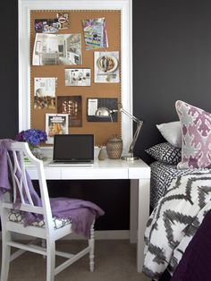 This looks like the west elm parsons desk - kind of an interesting idea for vanity. Could get brent a simple white side table?    Bedroom Vanity Design, Pictures, Remodel, Decor and Ideas - page 3