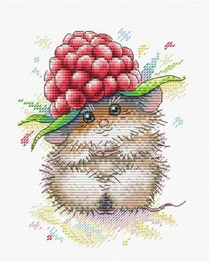 Modern Cross Stitch Embroidery Kit Cute Mouse with a Raspberry Ripe Happiness Russian Manufacturer Gift Idea - Modern Cross Stitch Embroidery Kit Cute Mouse with a Raspberry Ripe Happiness Russian Manufacturer - Mini Cross Stitch, Cross Stitch Animals, Cross Stitch Kits, Modern Cross Stitch Patterns, Cross Stitch Designs, Embroidery Kits, Cross Stitch Embroidery, Cross Stitching, Blackwork
