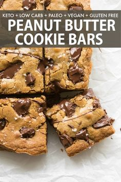 Keto Peanut Butter Chocolate Chip Cookie Bars are a keto, vegan and low carb des. Keto Peanut Butter Chocolate Chip Cookie Bars are a keto, vegan and low carb dessert that is soft, chewy and g Peanut Butter Cookie Bars, Gluten Free Peanut Butter Cookies, Chocolate Chip Cookie Bars, Keto Chocolate Chips, Keto Cookies, Dairy Free Gluten Free Desserts, Healthy Peanut Butter Cookie Recipe, Paleo Chocolate Brownies, Low Calorie Cookies
