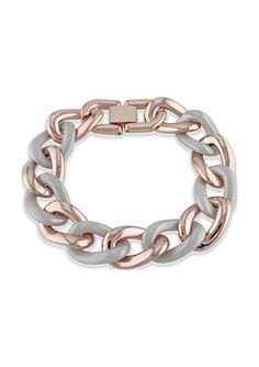 sofia b. Rosetone and Stainless Link Bracelet
