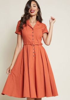 Collectif x MC Cherished Era Shirt Dress in Orange in 20 (UK) - Short Sleeve Midi by Collectif from ModCloth Orange Dress Shirt, Red Shirt, Cute Dresses, Casual Dresses, Awesome Dresses, Party Dresses, 1950s Fashion Dresses, 1950s Style Dresses, Retro Vintage Dresses