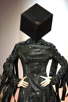 Visions of the Future // Swarovski crystal-encrusted cube-shaped hat created by Nasir Mazhar for the fashion designer Gareth Pugh in Weird Fashion, Dark Fashion, Fashion Art, Editorial Fashion, High Fashion, Fashion Design, Purple Fashion, Fashion History, Modern Fashion