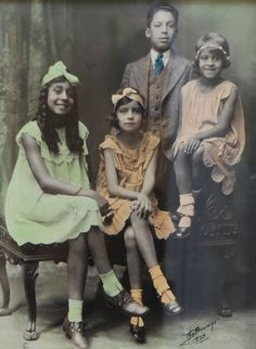 RICH KIDS | 1929Colorized photo of Maggie Laura, Elizabeth, Armstead, and Mamie……the grandchildren of Maggie L. Walker, the first American woman to found and be president of a bank and an early advocate for African American women's rights Courtesy of the Maggie L. Walker National Historic Site  Join Black History Album On Pinterest