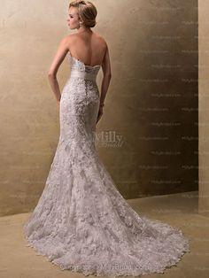 Trumpet/Mermaid Strapless Lace Satin Chapel Train Ivory Sashes / Ribbons Wedding Dresses at Millybridal.com
