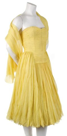 Jean Desses Couture Yellow Silk Chiffon Cocktail Dress with Matching Wrap,   1950s