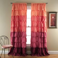 @Overstock - Lush Decor Ombre Ruffle Curtain Panel - Turn any room from ordinary to incredible when you add these beautiful ruffle curtains. Beautifully flowing layers of brushed poly with hand-constructed ruffle details make this window covering one that you'll love looking at any time.  http://www.overstock.com/Home-Garden/Lush-Decor-Ombre-Ruffle-Curtain-Panel/9571232/product.html?CID=214117 $35.02