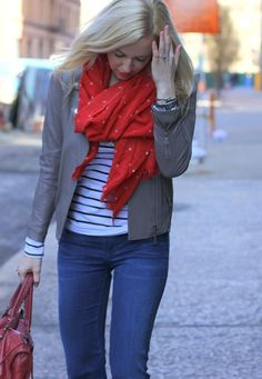 striped shirt, leather jacket, red scarf and bag